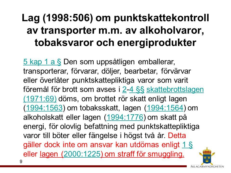 Lag (1998:506) om punktskattekontroll av transporter m.m. av alkoholvaror, tobaksvaror och energiprodukter 9 5 kap 1 a §5 kap 1 a § Den som uppsåtlige