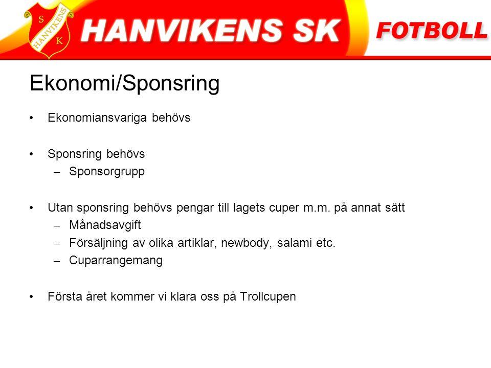 Ekonomi/Sponsring Ekonomiansvariga behövs Sponsring behövs – Sponsorgrupp Utan sponsring behövs pengar till lagets cuper m.m.
