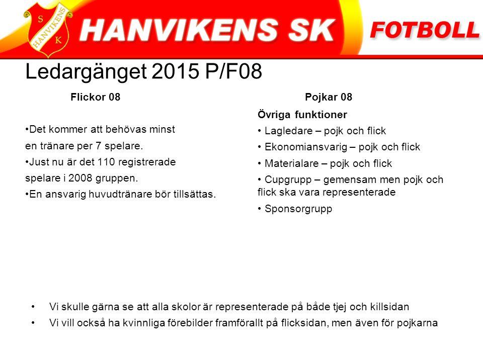 Ledargänget 2015 P/F08 Flickor 08 Pojkar 08 Det kommer att behövas minst en tränare per 7 spelare.