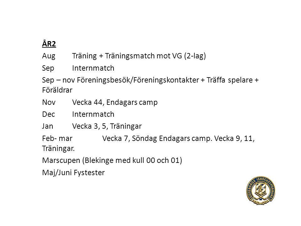 ÅR2 AugTräning + Träningsmatch mot VG (2-lag) SepInternmatch Sep – nov Föreningsbesök/Föreningskontakter + Träffa spelare + Föräldrar NovVecka 44, Endagars camp DecInternmatch JanVecka 3, 5, Träningar Feb- marVecka 7, Söndag Endagars camp.