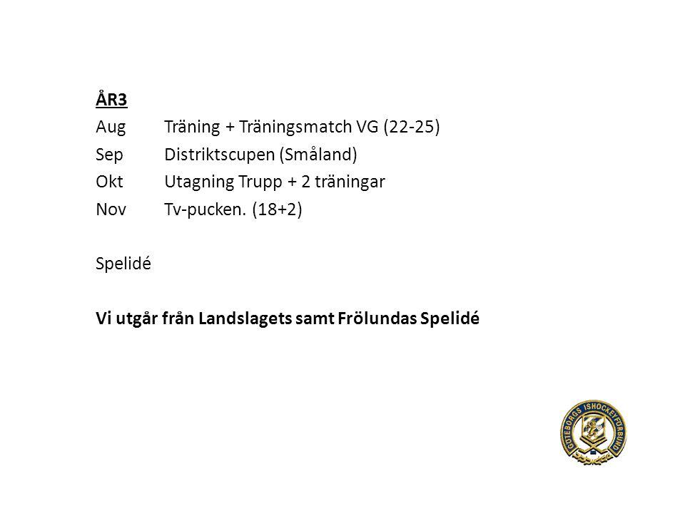 ÅR3 AugTräning + Träningsmatch VG (22-25) SepDistriktscupen (Småland) OktUtagning Trupp + 2 träningar NovTv-pucken.
