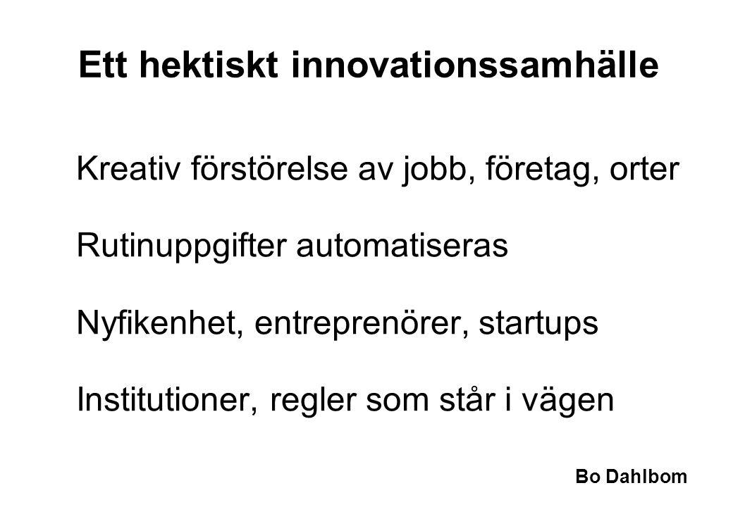 Bo Dahlbom Ett hektiskt innovationssamhälle Kreativ förstörelse av jobb, företag, orter Rutinuppgifter automatiseras Nyfikenhet, entreprenörer, startups Institutioner, regler som står i vägen