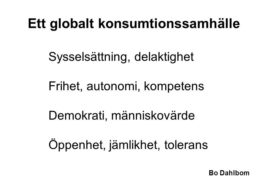 Bo Dahlbom Ett globalt konsumtionssamhälle Sysselsättning, delaktighet Frihet, autonomi, kompetens Demokrati, människovärde Öppenhet, jämlikhet, toler
