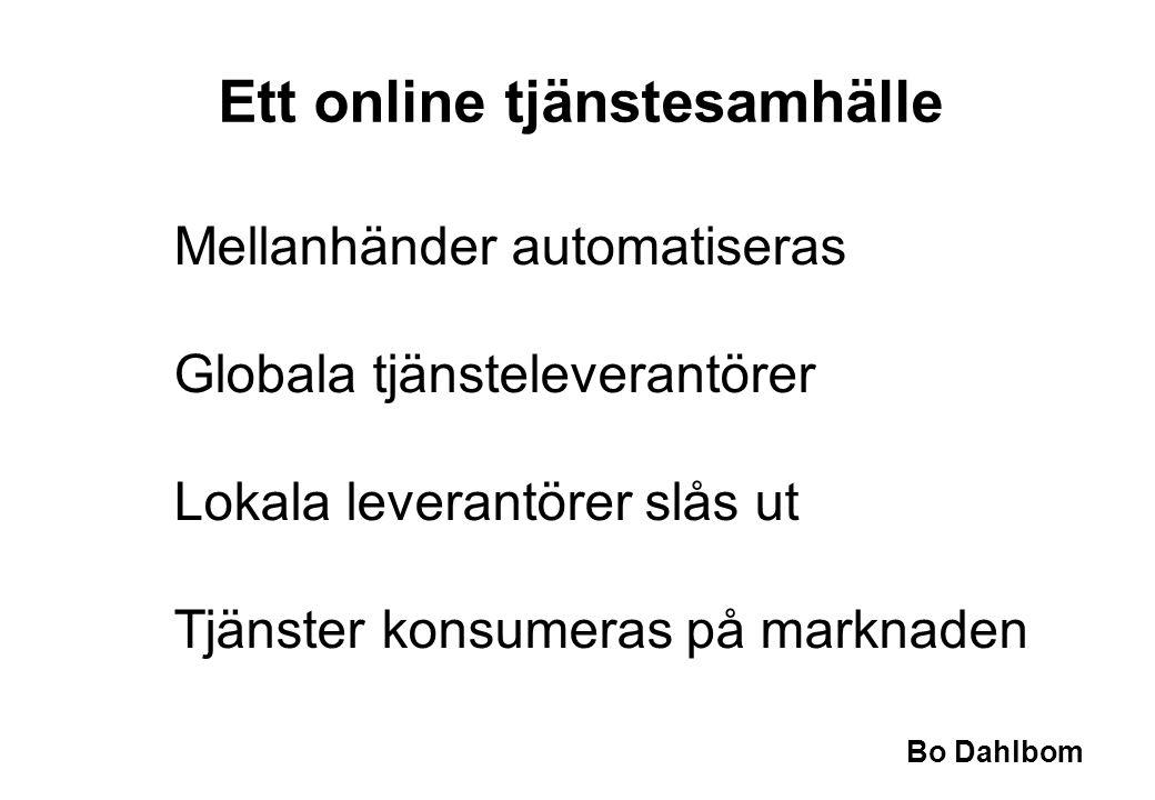 Bo Dahlbom Ett online tjänstesamhälle Mellanhänder automatiseras Globala tjänsteleverantörer Lokala leverantörer slås ut Tjänster konsumeras på markna