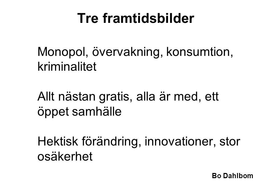 Bo Dahlbom Monopol, övervakning, konsumtion, kriminalitet Allt nästan gratis, alla är med, ett öppet samhälle Hektisk förändring, innovationer, stor o