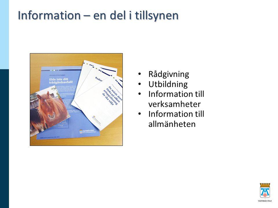 Information – en del i tillsynen Rådgivning Utbildning Information till verksamheter Information till allmänheten