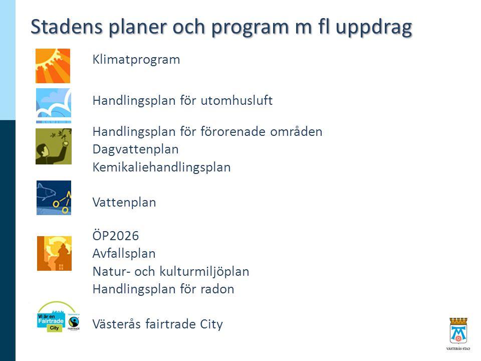 Stadens planer och program m fl uppdrag Klimatprogram Handlingsplan för utomhusluft Handlingsplan för förorenade områden Dagvattenplan Kemikaliehandli
