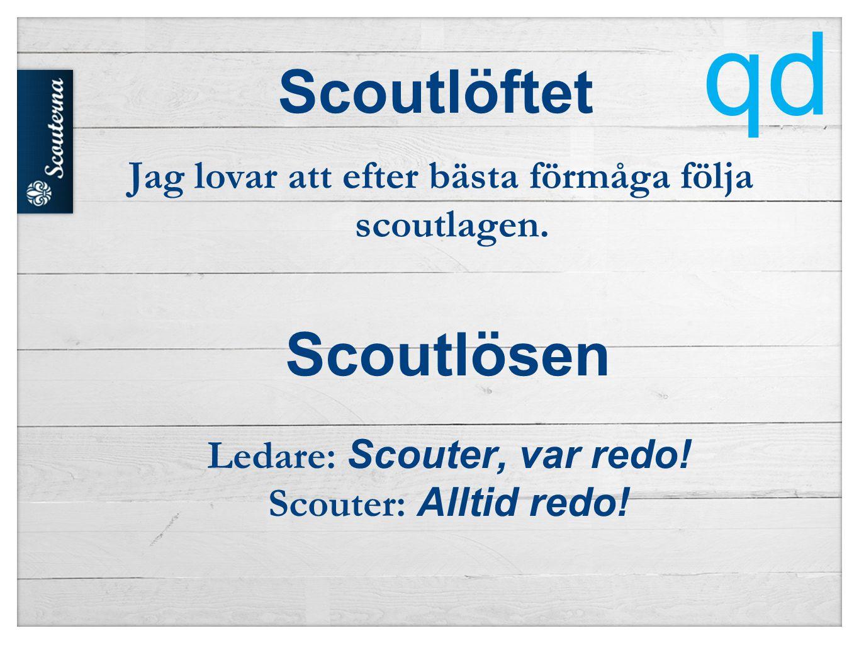 Scoutlöftet Jag lovar att efter bästa förmåga följa scoutlagen.
