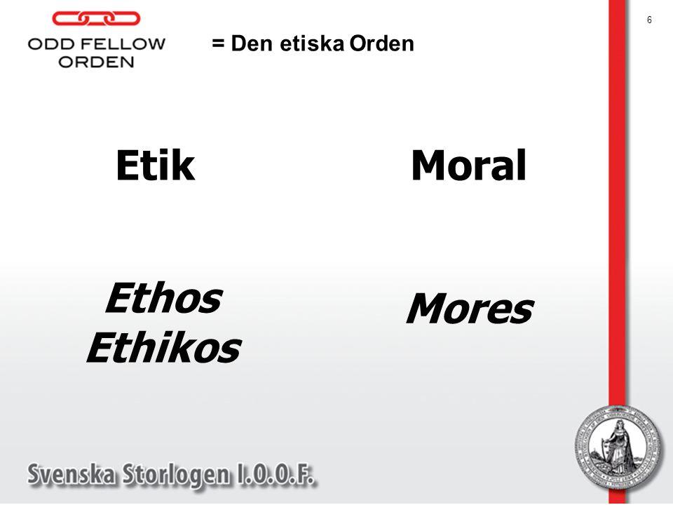 6 Etik Ethos Ethikos = Den etiska Orden Moral Mores