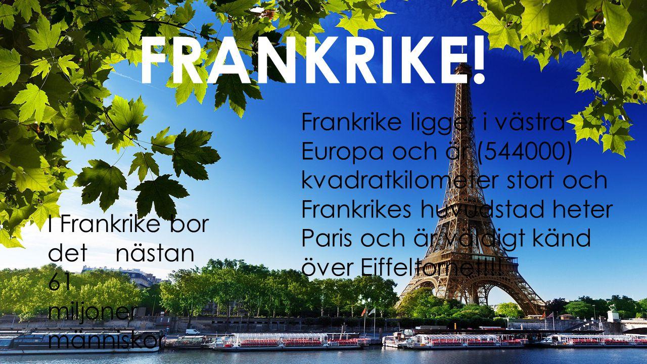 FRANKRIKE!!! Frankrike ligger väster om europa och är (544000) kvadratkilometer stort och huvudstaden heter Paris!!! Frankrike ligger i västra Europa