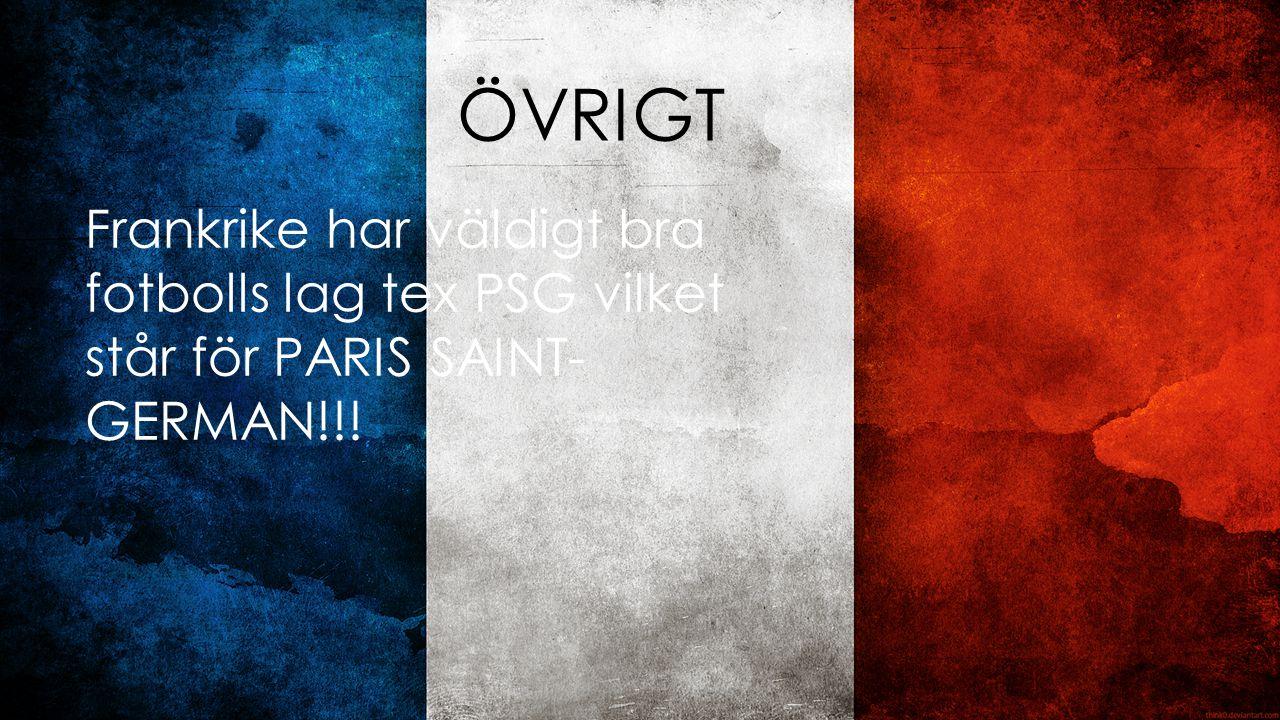 ÖVRIGT Frankrike har väldigt bra fotbolls lag tex PSG vilket står för PARIS SAINT- GERMAN!!!
