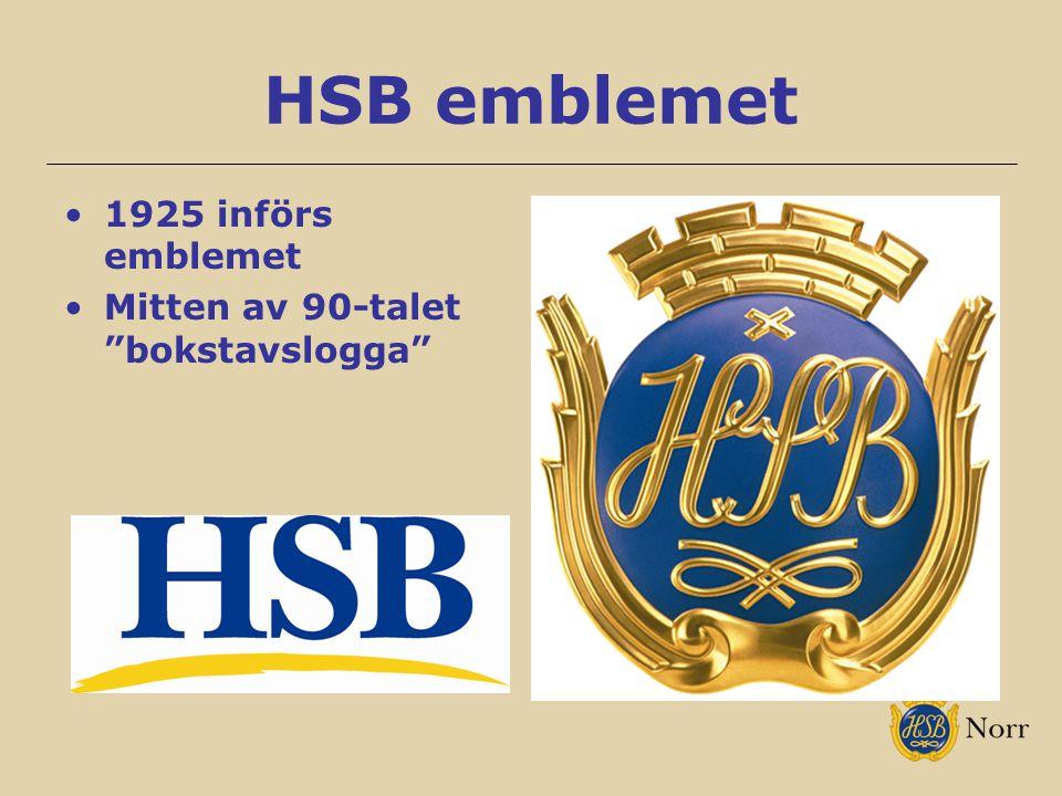 "HSB emblemet 1925 införs emblemet Mitten av 90-talet ""bokstavslogga"""