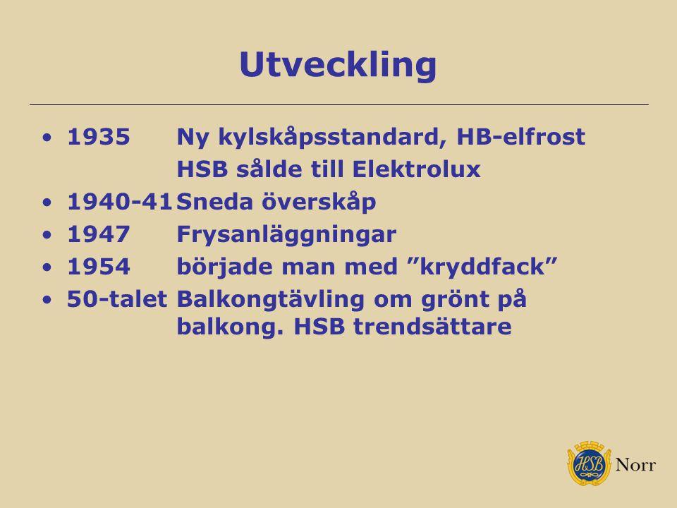 """Utveckling 1935Ny kylskåpsstandard, HB-elfrost HSB sålde till Elektrolux 1940-41Sneda överskåp 1947Frysanläggningar 1954började man med """"kryddfack"""" 50"""