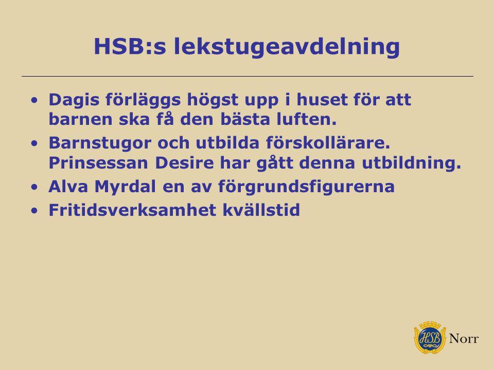 HSB:s lekstugeavdelning Dagis förläggs högst upp i huset för att barnen ska få den bästa luften. Barnstugor och utbilda förskollärare. Prinsessan Desi