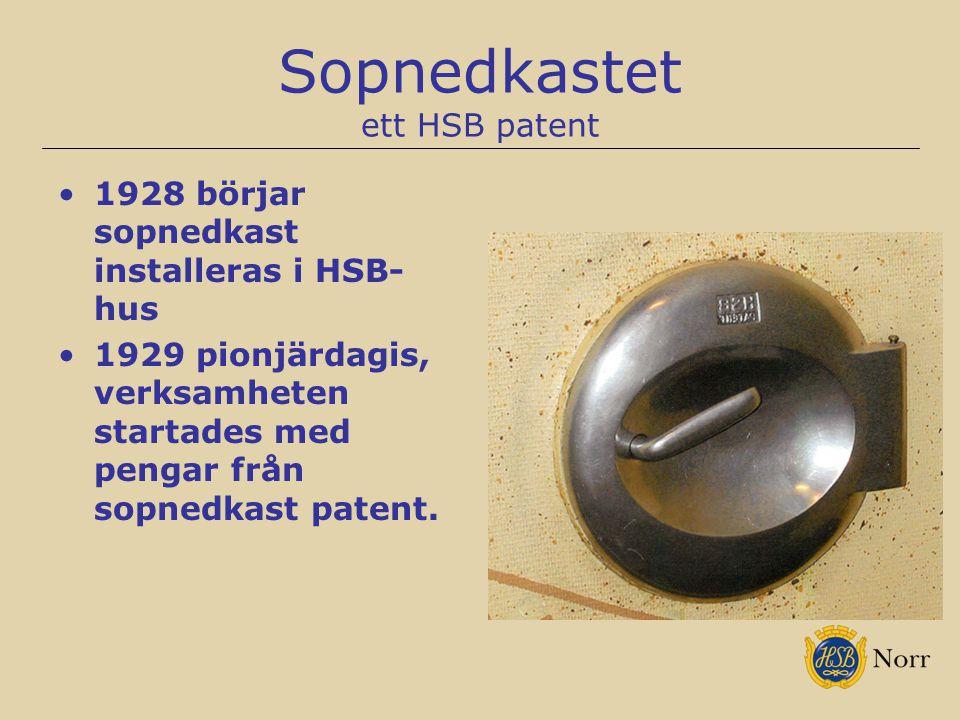 Sopnedkastet ett HSB patent 1928 börjar sopnedkast installeras i HSB- hus 1929 pionjärdagis, verksamheten startades med pengar från sopnedkast patent.