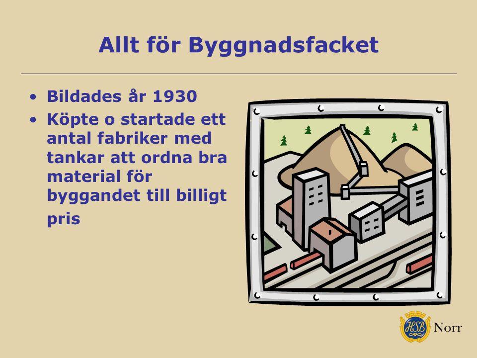 Allt för Byggnadsfacket Bildades år 1930 Köpte o startade ett antal fabriker med tankar att ordna bra material för byggandet till billigt pris