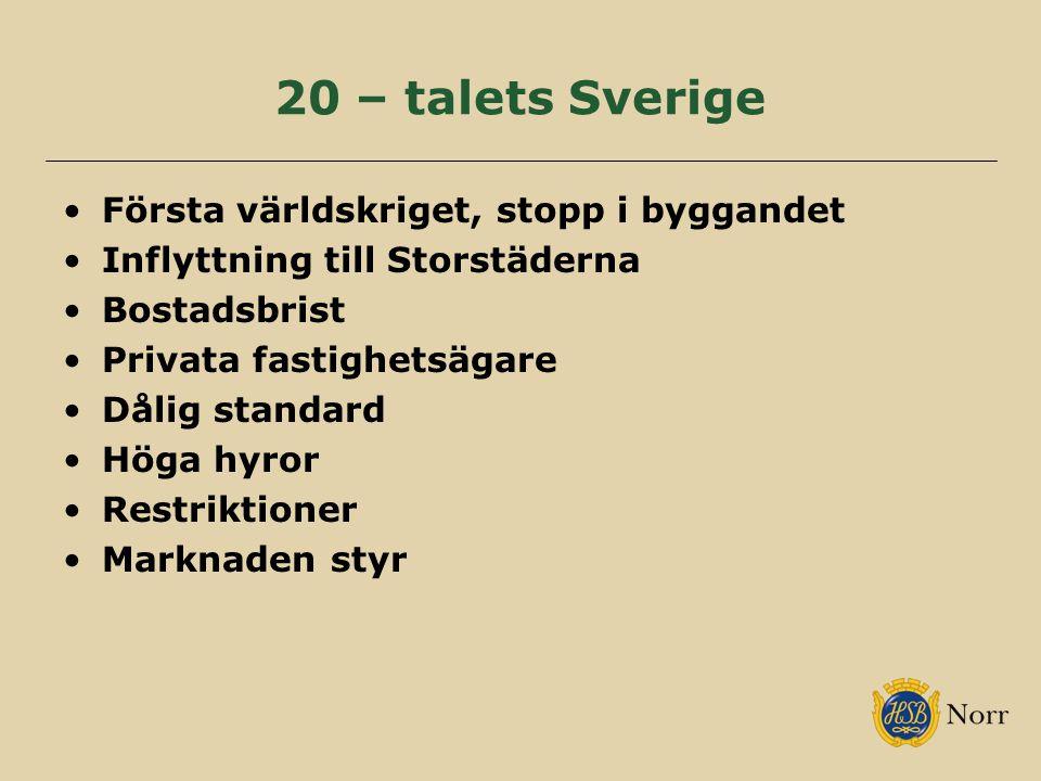 20 – talets Sverige Första världskriget, stopp i byggandet Inflyttning till Storstäderna Bostadsbrist Privata fastighetsägare Dålig standard Höga hyro