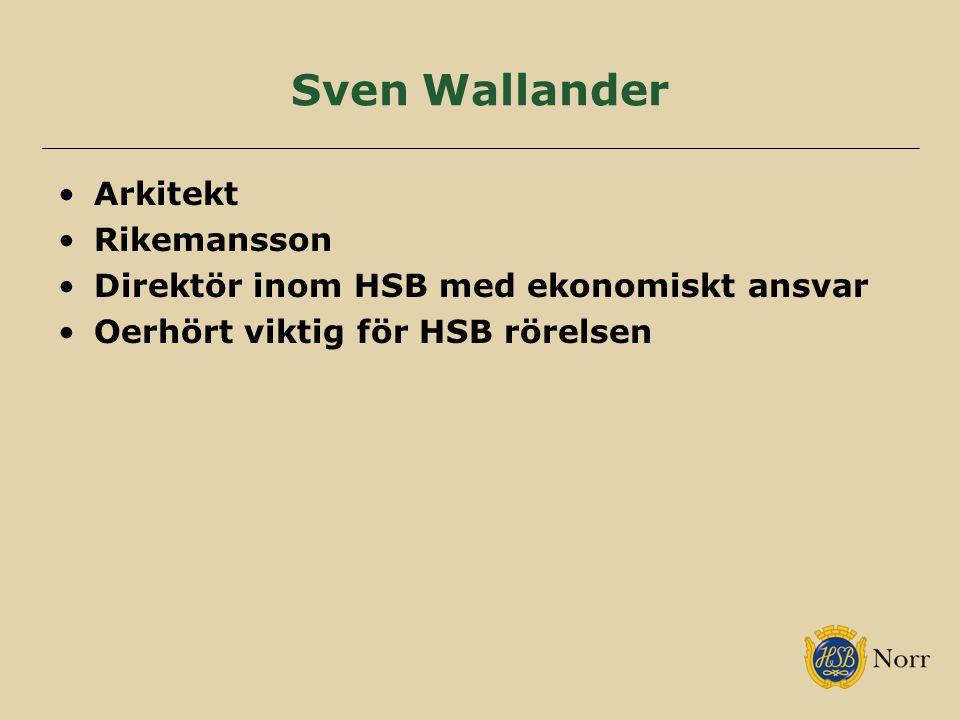 Sven Wallander Arkitekt Rikemansson Direktör inom HSB med ekonomiskt ansvar Oerhört viktig för HSB rörelsen