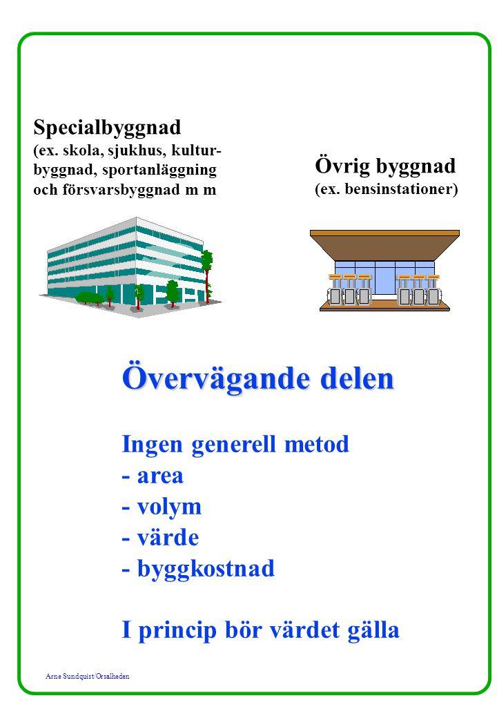 Arne Sundquist/Orsalheden Specialbyggnad (ex. skola, sjukhus, kultur- byggnad, sportanläggning och försvarsbyggnad m m Övrig byggnad (ex. bensinstatio