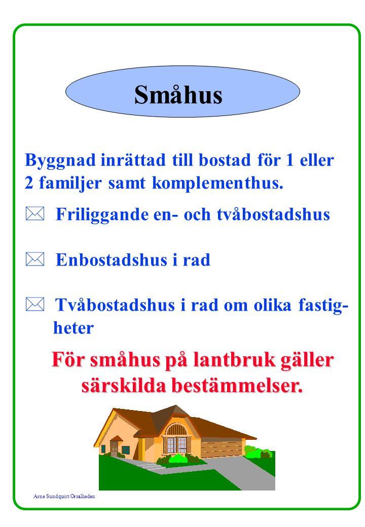 Arne Sundquist/Orsalheden Småhus Byggnad inrättad till bostad för 1 eller 2 familjer samt komplementhus. * Friliggande en- och tvåbostadshus * Enbosta