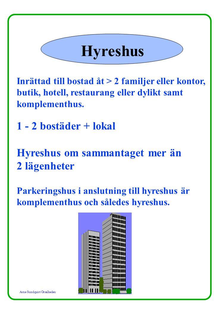 Arne Sundquist/Orsalheden Hyreshus Inrättad till bostad åt > 2 familjer eller kontor, butik, hotell, restaurang eller dylikt samt komplementhus.
