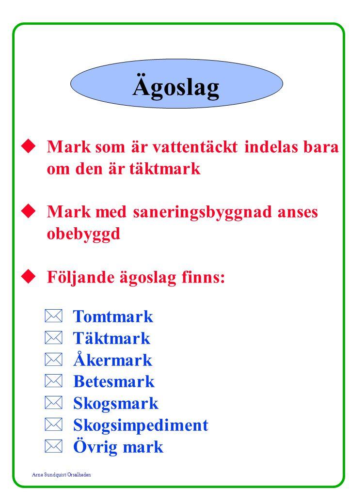 Arne Sundquist/Orsalheden Ägoslag u Mark som är vattentäckt indelas bara om den är täktmark u Mark med saneringsbyggnad anses obebyggd u Följande ägos
