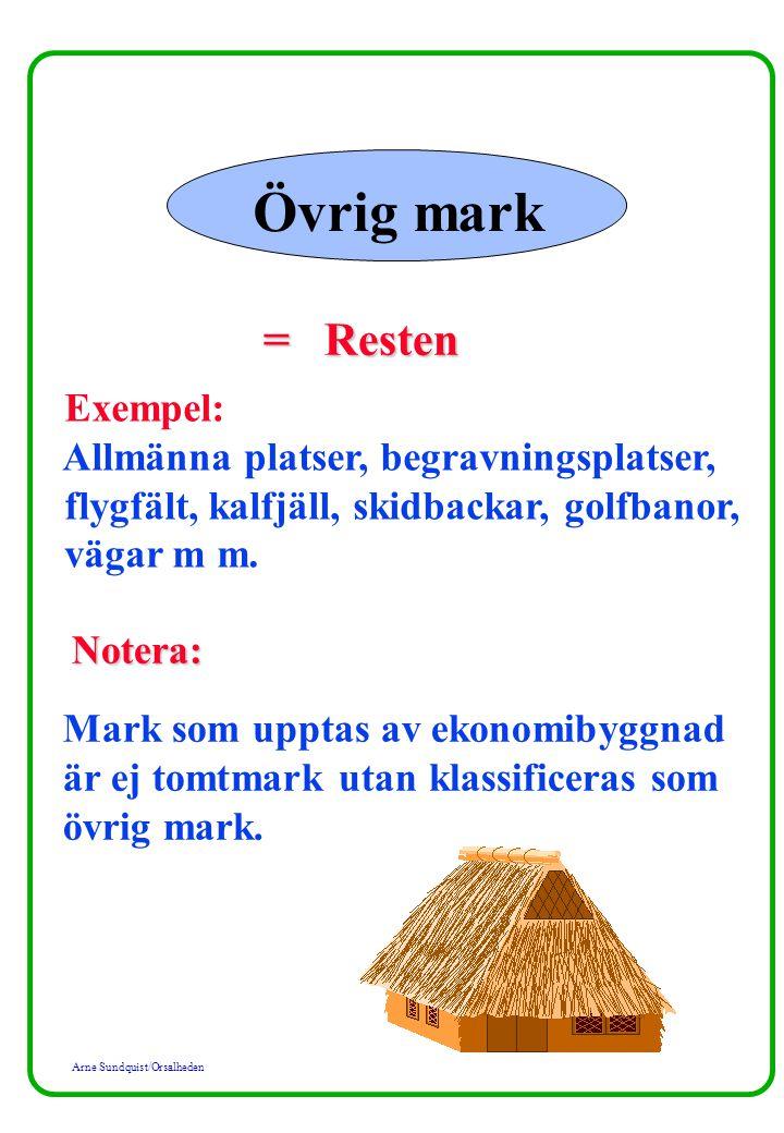 Arne Sundquist/Orsalheden Övrig mark = Resten Exempel: Allmänna platser, begravningsplatser, flygfält, kalfjäll, skidbackar, golfbanor, vägar m m. Not