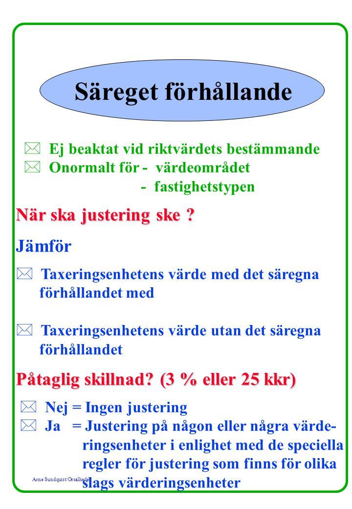 Arne Sundquist/Orsalheden Säreget förhållande * Ej beaktat vid riktvärdets bestämmande * Onormalt för - värdeområdet - fastighetstypen När ska justeri