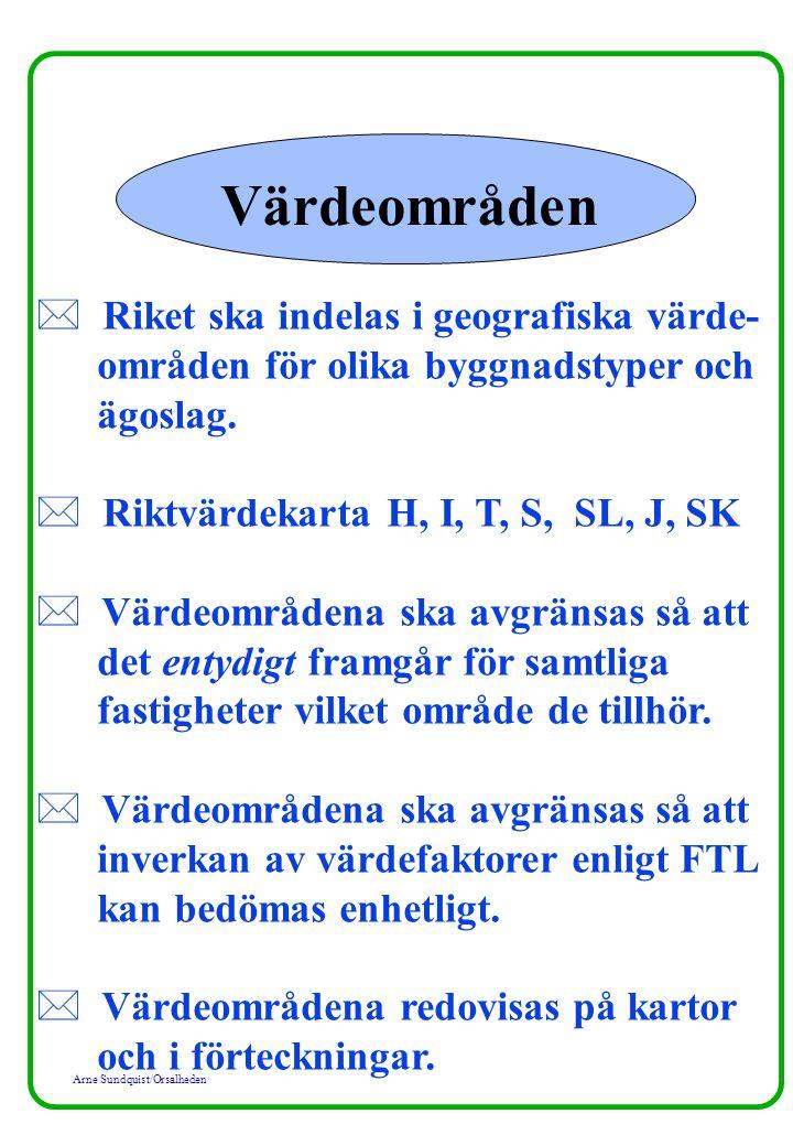 Arne Sundquist/Orsalheden Värdeområden * Riket ska indelas i geografiska värde- områden för olika byggnadstyper och ägoslag. * Riktvärdekarta H, I, T,