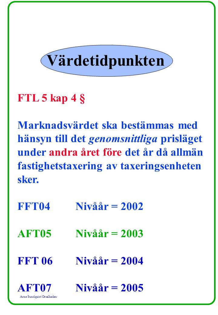 Arne Sundquist/Orsalheden Värdetidpunkten FTL 5 kap 4 § Marknadsvärdet ska bestämmas med hänsyn till det genomsnittliga prisläget under andra året före det år då allmän fastighetstaxering av taxeringsenheten sker.
