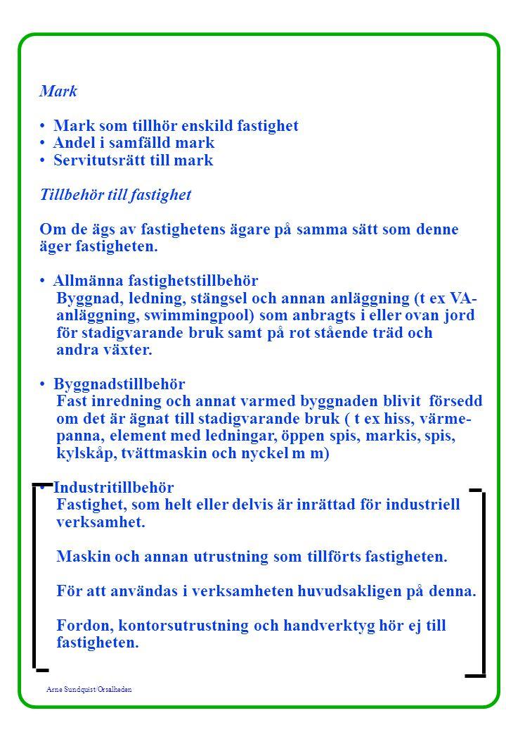 Arne Sundquist/Orsalheden Mark Mark som tillhör enskild fastighet Andel i samfälld mark Servitutsrätt till mark Tillbehör till fastighet Om de ägs av fastighetens ägare på samma sätt som denne äger fastigheten.