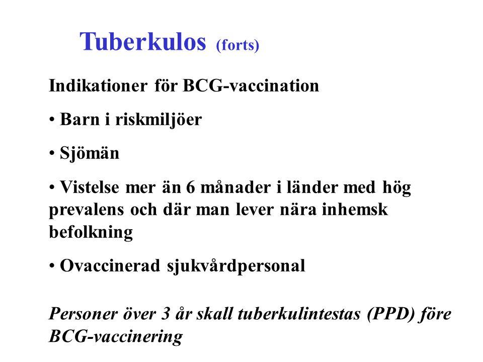 Tuberkulos (forts) Indikationer för BCG-vaccination Barn i riskmiljöer Sjömän Vistelse mer än 6 månader i länder med hög prevalens och där man lever n