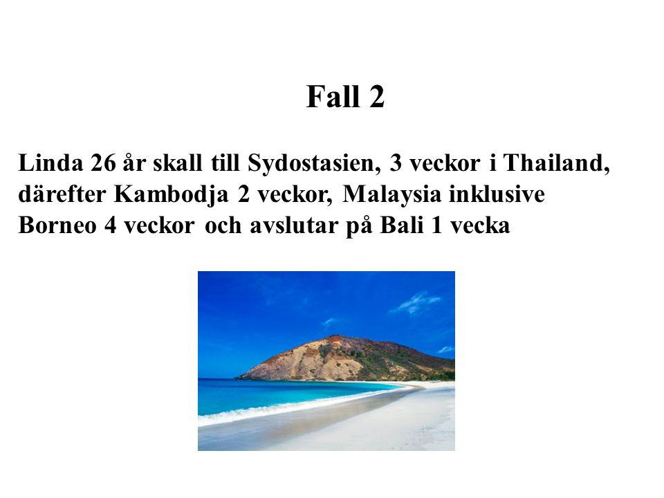 Fall 2 Linda 26 år skall till Sydostasien, 3 veckor i Thailand, därefter Kambodja 2 veckor, Malaysia inklusive Borneo 4 veckor och avslutar på Bali 1