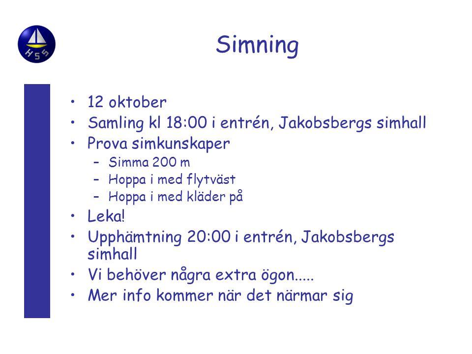 Simning 12 oktober Samling kl 18:00 i entrén, Jakobsbergs simhall Prova simkunskaper –Simma 200 m –Hoppa i med flytväst –Hoppa i med kläder på Leka.