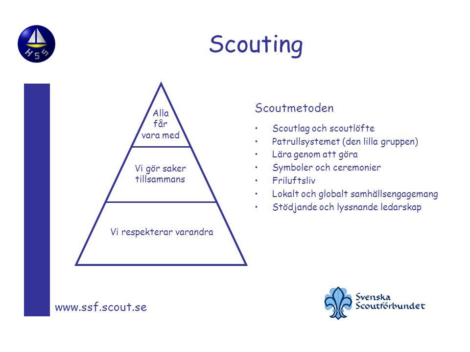 Scouting www.ssf.scout.se Scoutlag och scoutlöfte Patrullsystemet (den lilla gruppen) Lära genom att göra Symboler och ceremonier Friluftsliv Lokalt och globalt samhällsengagemang Stödjande och lyssnande ledarskap Vi respekterar varandra Vi gör saker tillsammans Alla får vara med Scoutmetoden