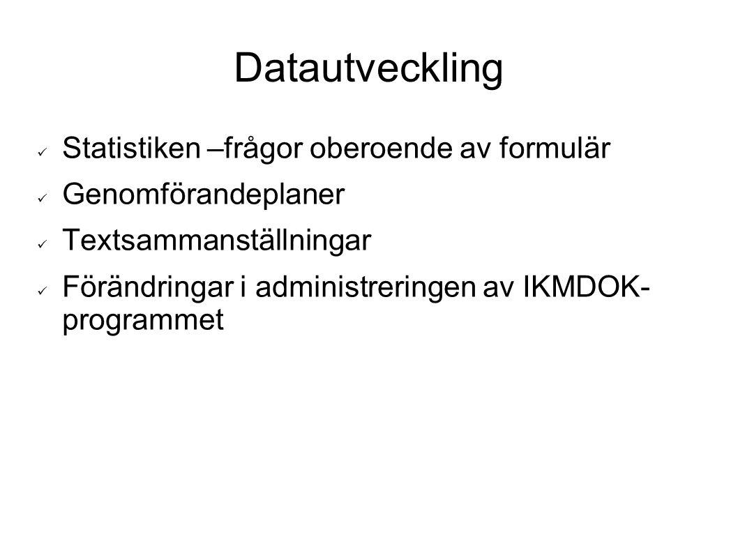 Datautveckling Statistiken –frågor oberoende av formulär Genomförandeplaner Textsammanställningar Förändringar i administreringen av IKMDOK- programme