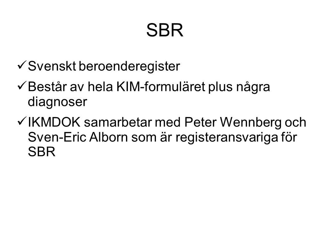 SBR Svenskt beroenderegister Består av hela KIM-formuläret plus några diagnoser IKMDOK samarbetar med Peter Wennberg och Sven-Eric Alborn som är regis