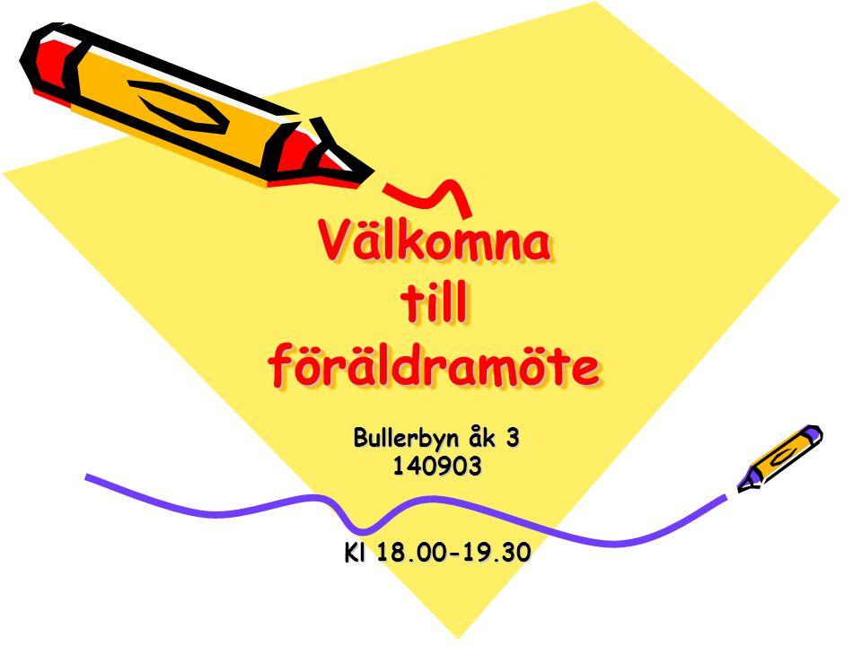 Välkomna till föräldramöte Bullerbyn åk 3 140903 Kl 18.00-19.30