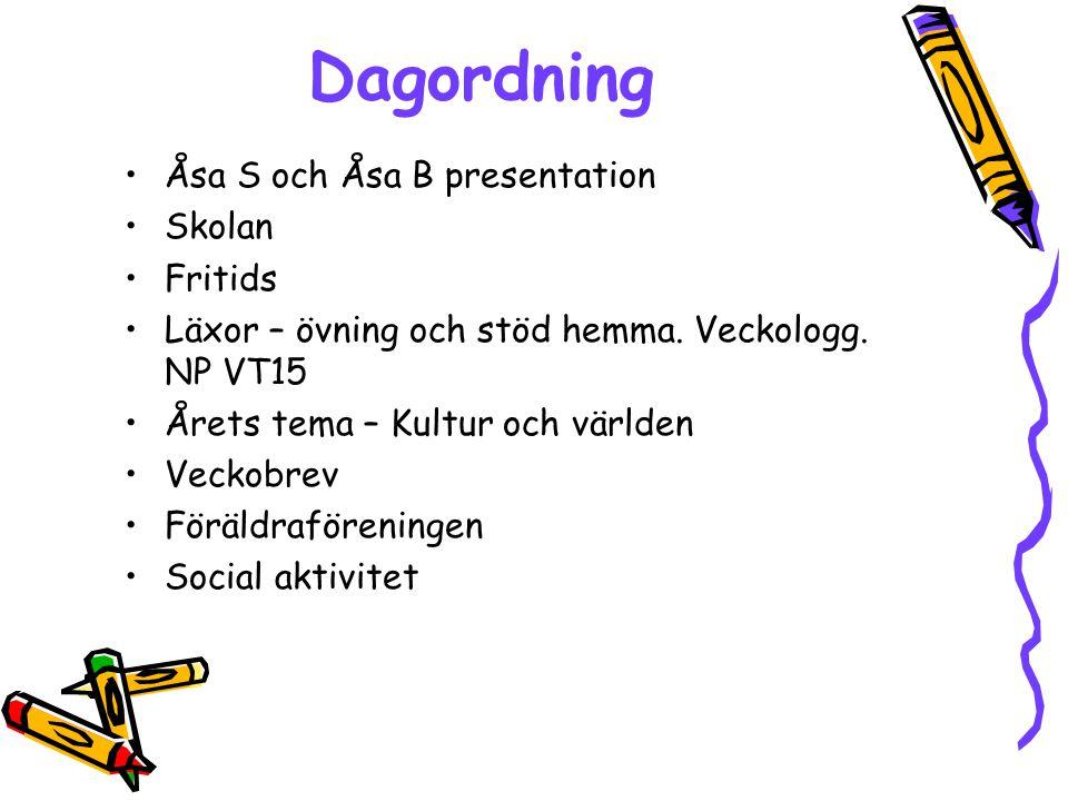 Dagordning Åsa S och Åsa B presentation Skolan Fritids Läxor – övning och stöd hemma. Veckologg. NP VT15 Årets tema – Kultur och världen Veckobrev För