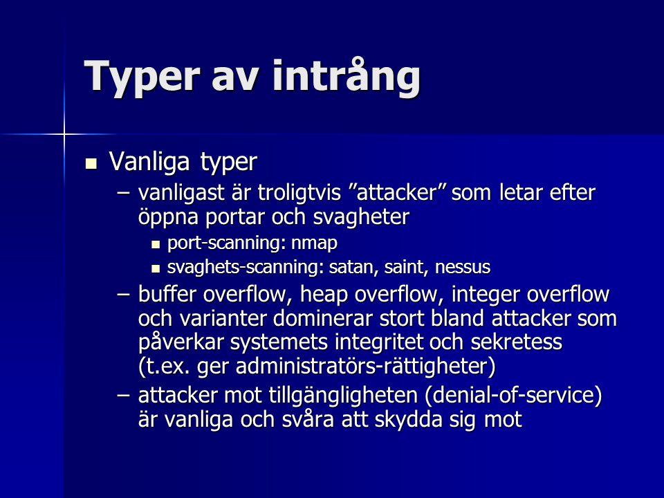 """Typer av intrång Vanliga typer Vanliga typer –vanligast är troligtvis """"attacker"""" som letar efter öppna portar och svagheter port-scanning: nmap port-s"""