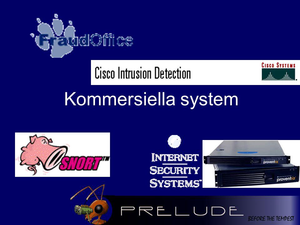 Kommersiella system - FDS Exempel från telekom (rapport från 2000) Exempel från telekom (rapport från 2000) –Sheriff, British Telecom –Fraud office, Ericsson –Cerebrus, Nortel Networks –Compaq FMS, Compaq –...