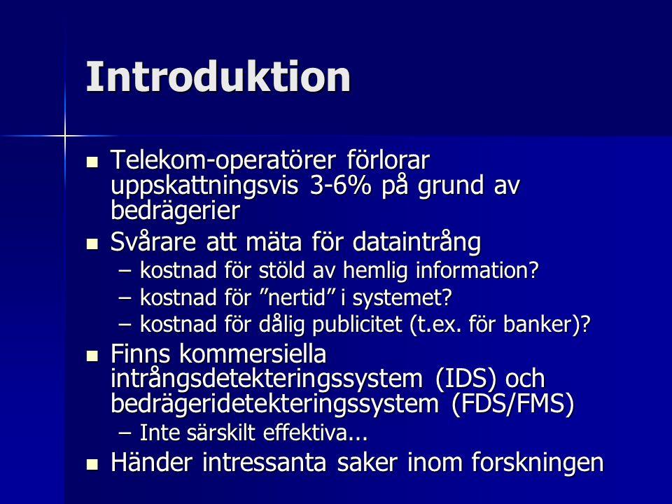 Introduktion Telekom-operatörer förlorar uppskattningsvis 3-6% på grund av bedrägerier Telekom-operatörer förlorar uppskattningsvis 3-6% på grund av b