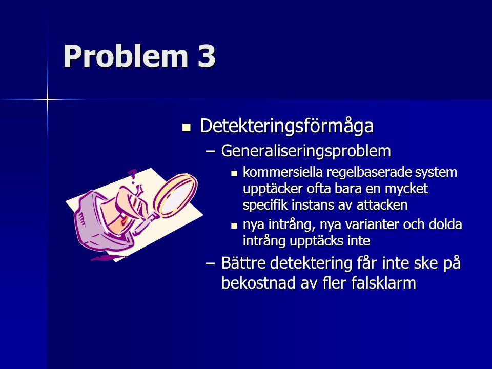 Problem 3 Detekteringsförmåga Detekteringsförmåga –Generaliseringsproblem kommersiella regelbaserade system upptäcker ofta bara en mycket specifik ins