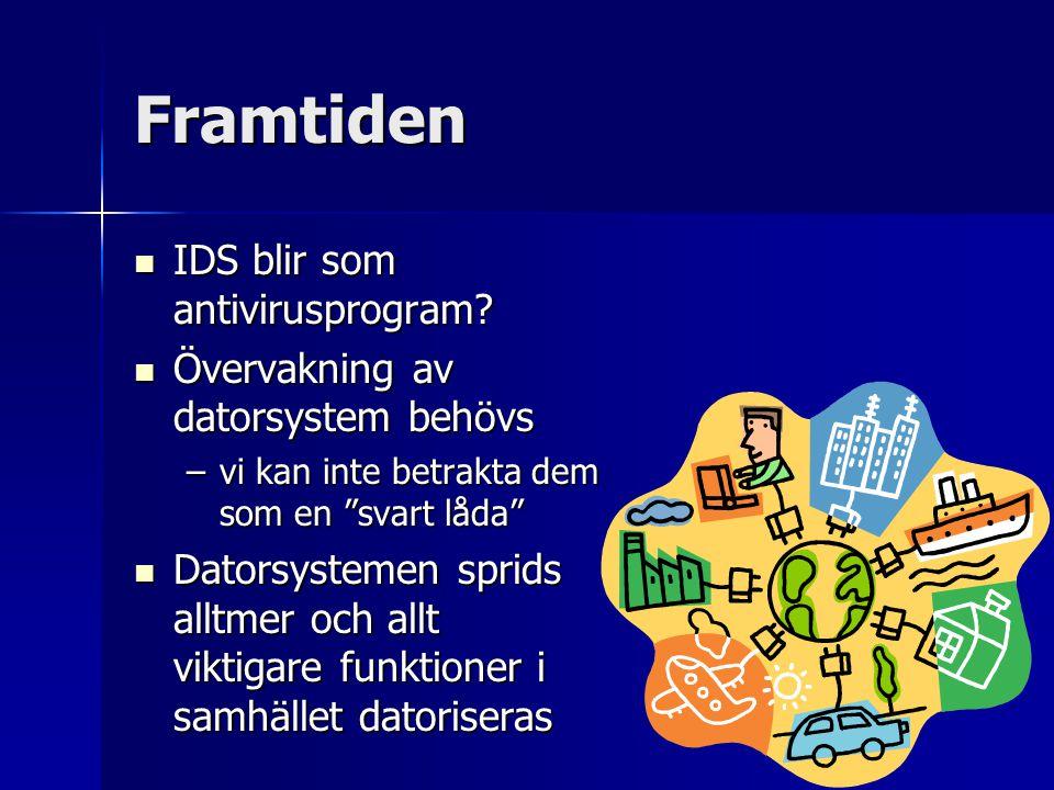 Framtiden IDS blir som antivirusprogram? IDS blir som antivirusprogram? Övervakning av datorsystem behövs Övervakning av datorsystem behövs –vi kan in