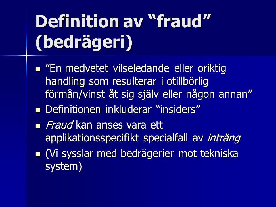 """Definition av """"fraud"""" (bedrägeri) """"En medvetet vilseledande eller oriktig handling som resulterar i otillbörlig förmån/vinst åt sig själv eller någon"""