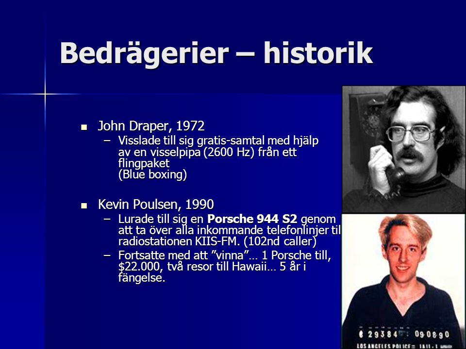 Bedrägerier – historik John Draper, 1972 John Draper, 1972 –Visslade till sig gratis-samtal med hjälp av en visselpipa (2600 Hz) från ett flingpaket (