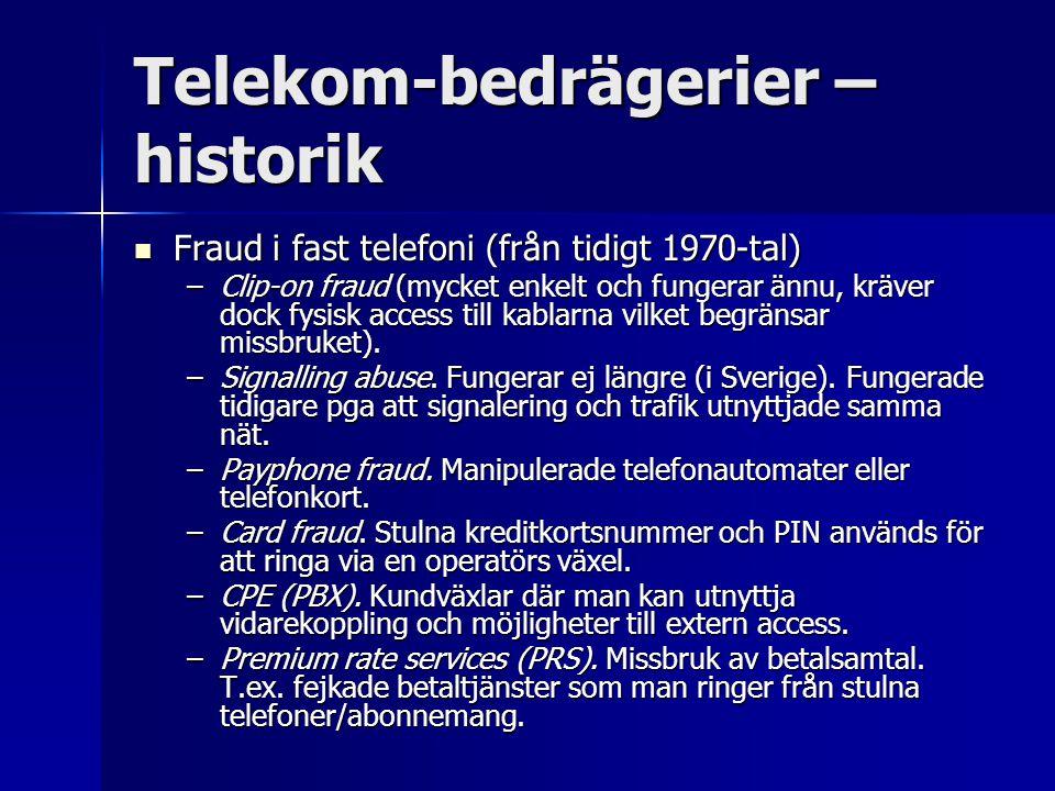 Telekom-bedrägerier – historik Fraud i fast telefoni (från tidigt 1970-tal) Fraud i fast telefoni (från tidigt 1970-tal) –Clip-on fraud (mycket enkelt