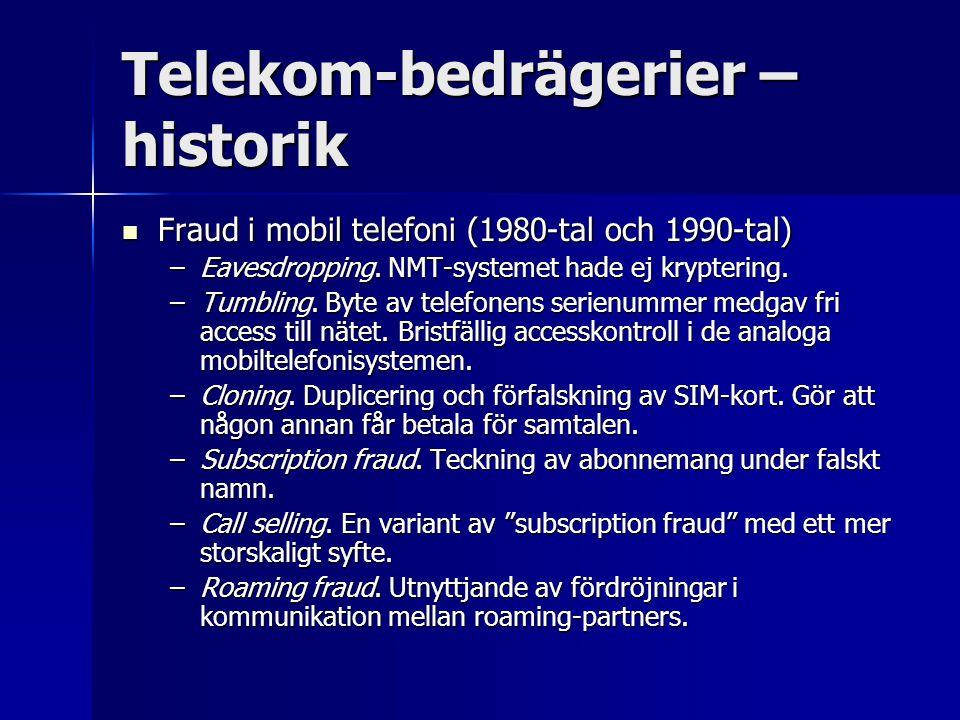 Telekom-bedrägerier – historik Fraud i mobil telefoni (1980-tal och 1990-tal) Fraud i mobil telefoni (1980-tal och 1990-tal) –Eavesdropping. NMT-syste
