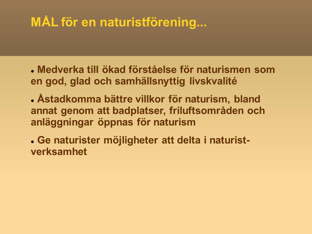 MÅL för en naturistförening... Medverka till ökad förståelse för naturismen som en god, glad och samhällsnyttig livskvalité Åstadkomma bättre villkor