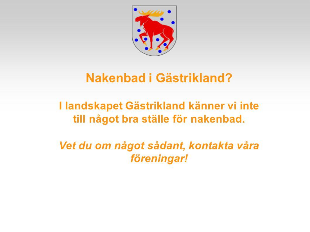 Nakenbad i Gästrikland? I landskapet Gästrikland känner vi inte till något bra ställe för nakenbad. Vet du om något sådant, kontakta våra föreningar!